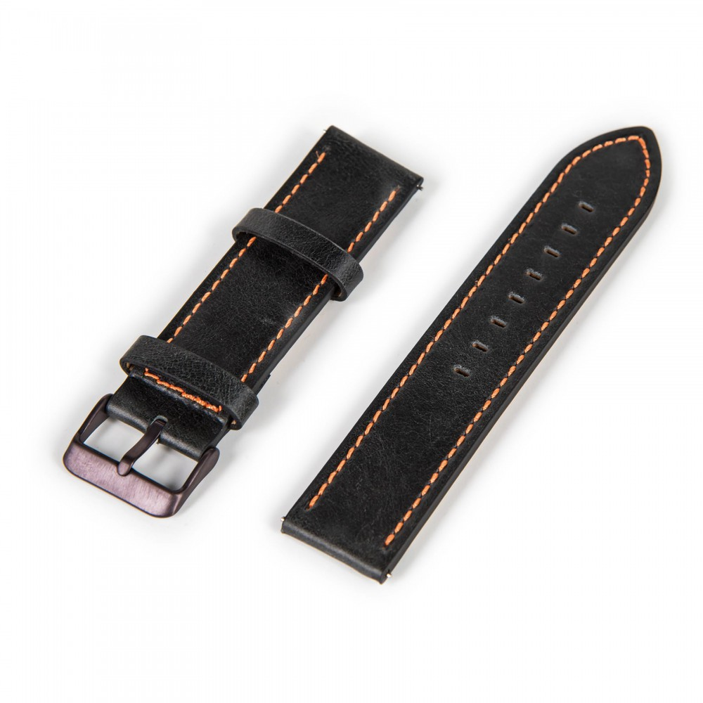 Oskron leather bracelet black with orange stitching