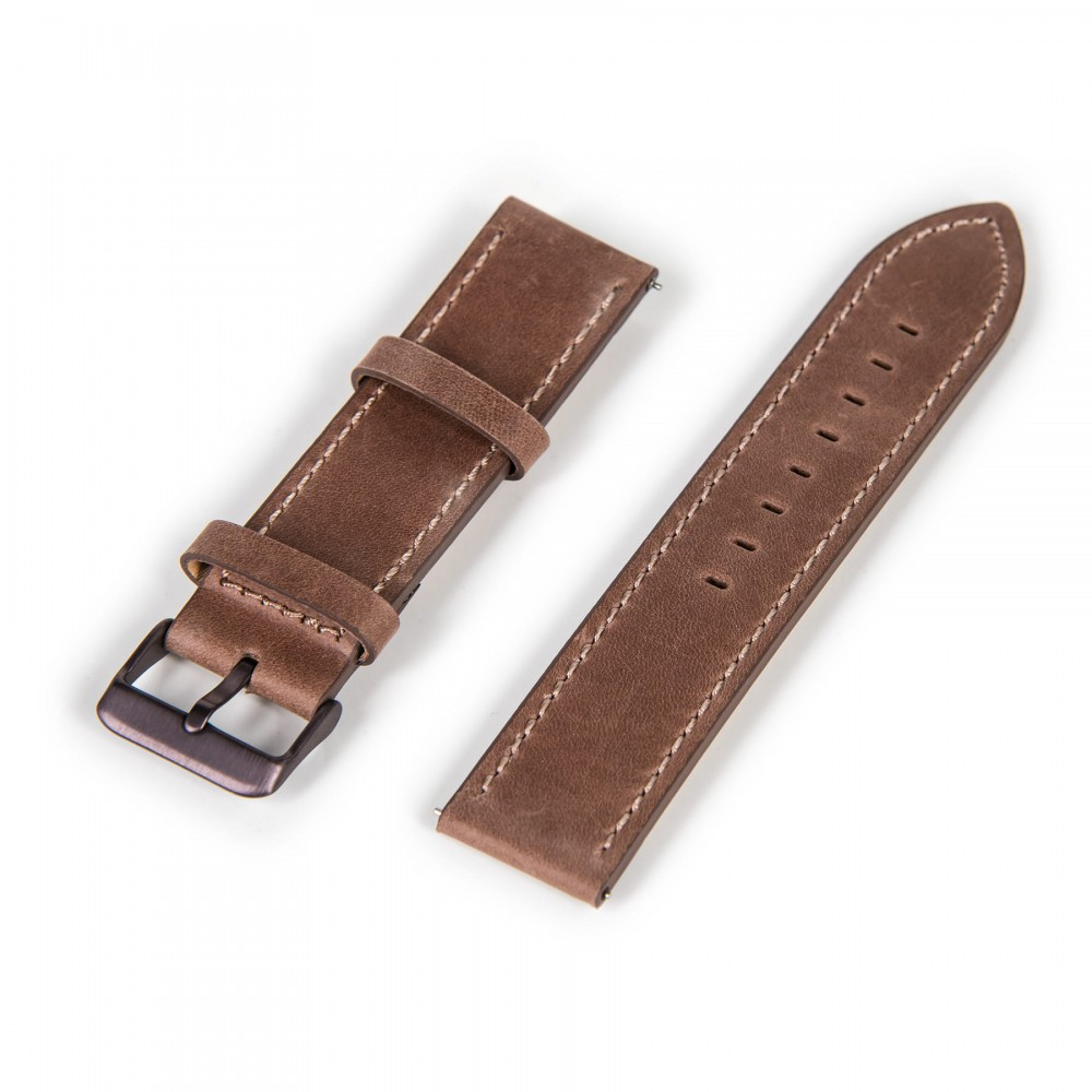 Oskron Leather Bracelet brown with light brown stitching